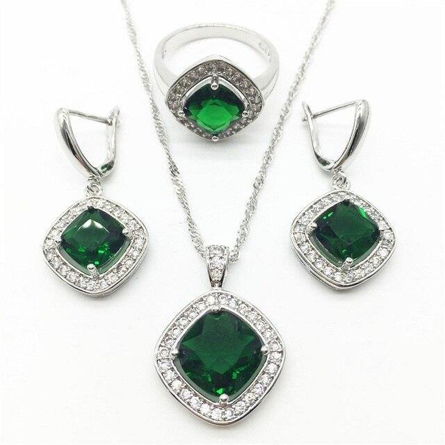 Green Garnet Silver Jewelry Sets For Women Earrings Pendant Necklace Rings 6 7