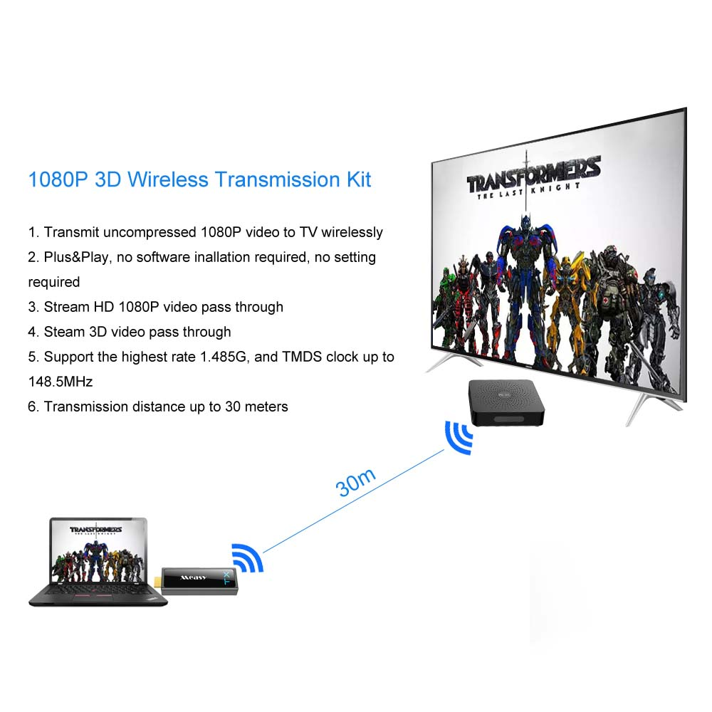 MEASY W2H MINI 2 1080P Wireless HDMI Extender Video Audio Transmission Up To 30M / 100ft to stream 1080P 3D Video For HDTV DVD