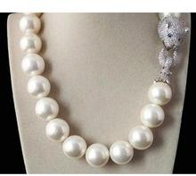 Tremendous Big Sweater chain Beautiful NEW Huge 16mm Genuine White blue South Sea Shell Pearl Necklace Silver jewelry Wonderful цена в Москве и Питере