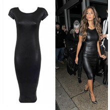 New 2015 Fashion Women Bandage Dress PU Dress Leather Short Sleeve Sexy Party Bodycon Women's Clubwear Midi Vestidos Hip Package