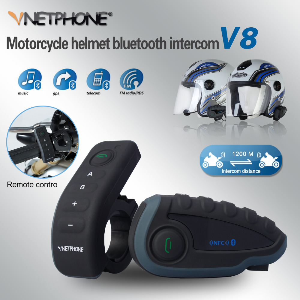 Vnetphone V8 BT Intercom Motorcycle 5 Riders Bluetooth Communication System Helmet Headphone Walkie Talkie NFC Remote Control 2pcs e6 wireless full duplex helmet intercom bt interphone 1200m motorcycle bluetooth helmets headset walkie talkie for 6 riders