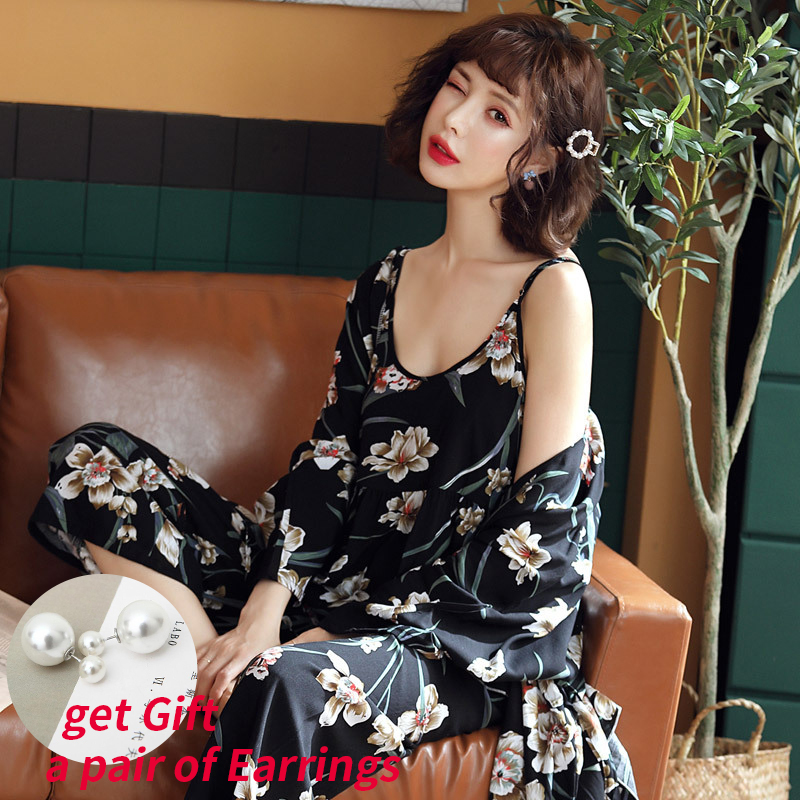 3pcs Suit Robe Floral Sexy Home Pyjamas Women Loose Plus Size Robe Nightdress New Style Summer Sleepwear Femme Robe Homewear