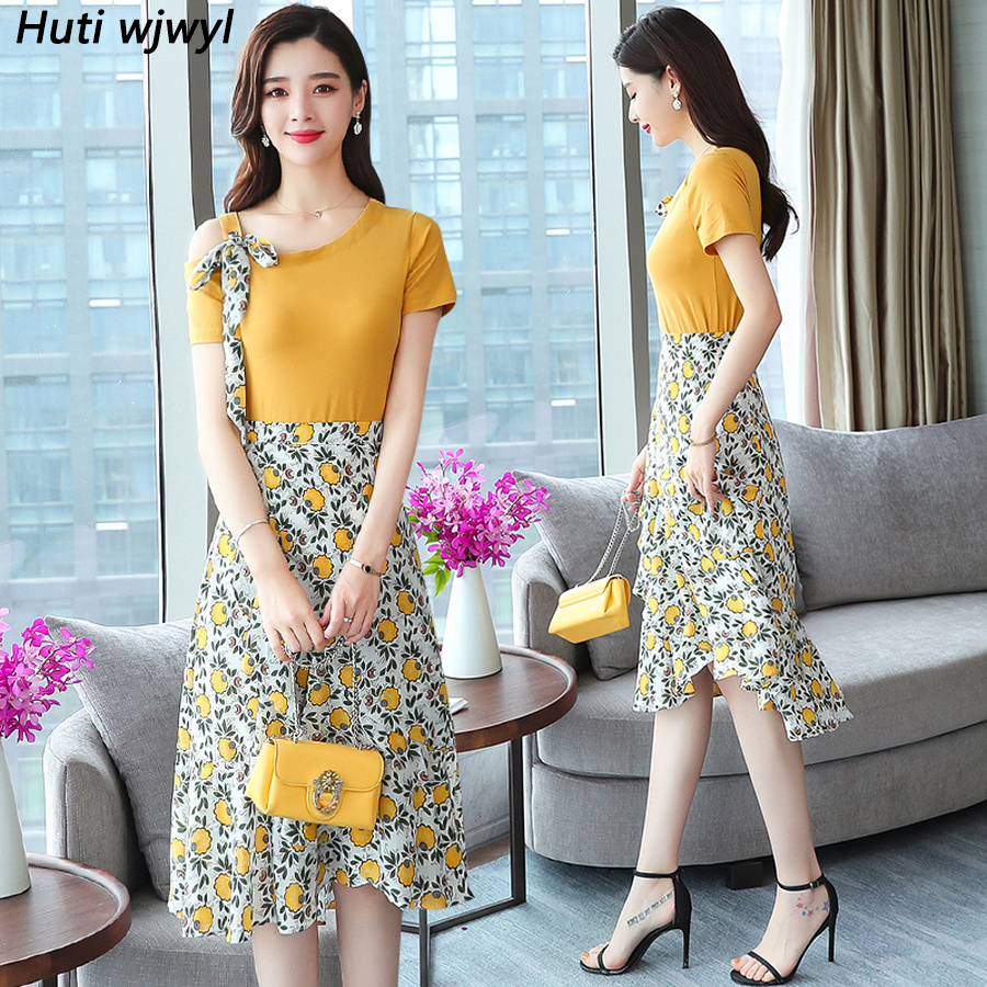 2019 Femal Vintage Elegant Yellow Top And Skirt Summer New Plus Size Print Beach Sexy Suit Women Bodycon Floral Party Vestidos