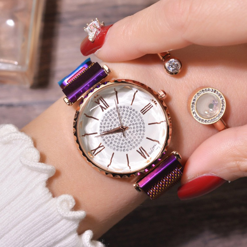 Luxury Rose Gold Women Watches Fashion Diamond Ladies Magnet Clock Steel Mesh Casual Female Wristwatch Roman Numerals Gift Girls in Women 39 s Watches from Watches