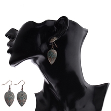 Amader Vintage Style Drop Earrings For Women Geometric Bronze&Blue Color Earrings Female Ethinc Indian Jewelry HQE531