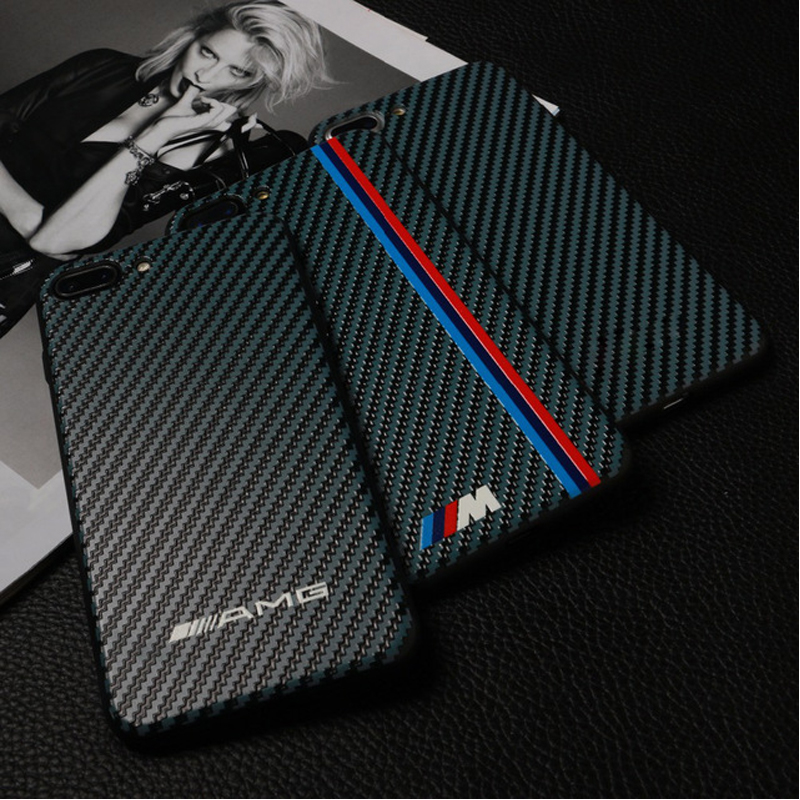 Hot RS carbon fiber phone cases for iphone 7 case AMG carbon fiber M Racing SPORT black car Luxury for iphone 6 6S 7 8 plus X  чехлы марвел