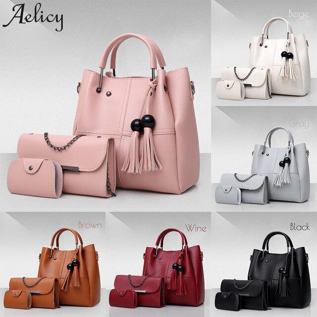 36130b3ea1 Aelicy 2018 Women 3Pcs Set Handbags PU Leather Shoulder Bags Casual Tote Bag  Tassel Metal