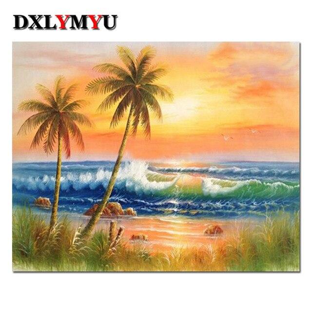 5d diy diamond painting hawaii holiday beach 3d full square diamond