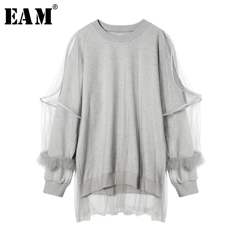 [EAM] 2020 New Spring Women Fashion Tide Gray Loose Casual Long Sleeve O-neck Double Layer Mesh Spliced Ruffles T-shirt LA753