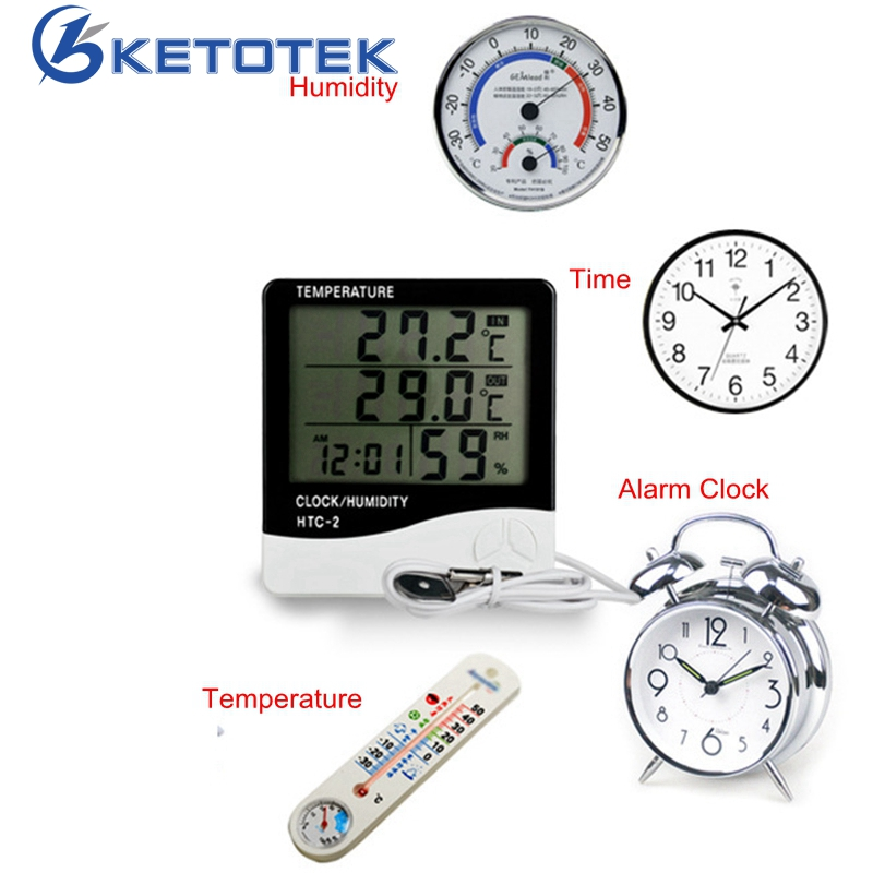 HTC-2 Weather Station Digital LCD Indoor/Outdoor Room Hygrometer Thermometer Clock Temperature Humidity Meter with sensor
