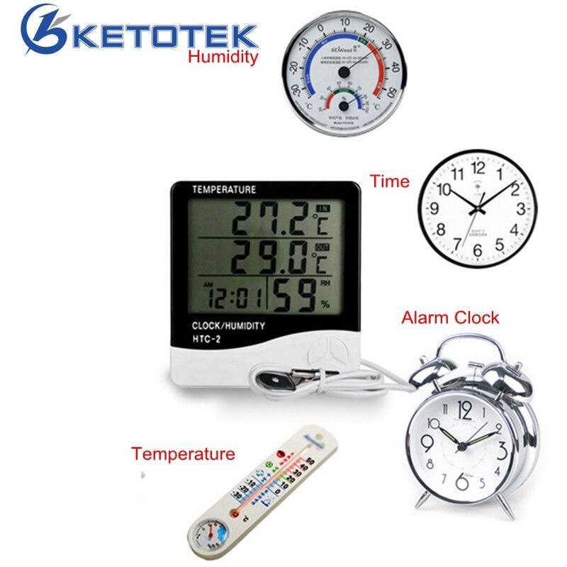 HTC-Stazione Meteo Digitale LCD Indoor/Outdoor Camera Igrometro Termometro Orologio Umidità di Temperatura Meter con sensore