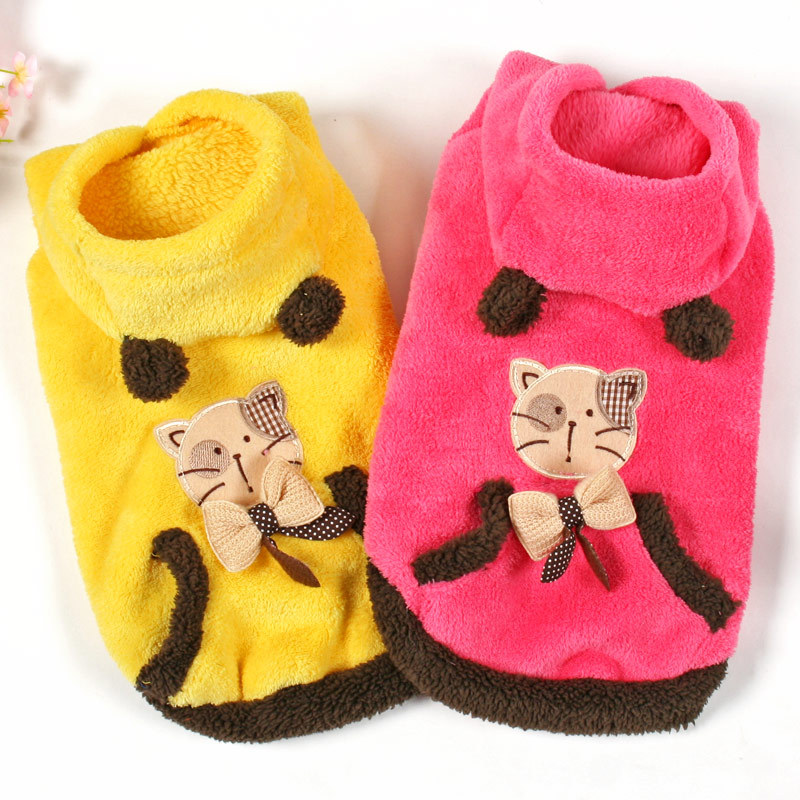 Hot New Winter Cute Pet Cat Clothes Coral Fleece Pullover Warm Jacket Hoodie Coat Clothing Apparel For Little Kitty Pet Supplies