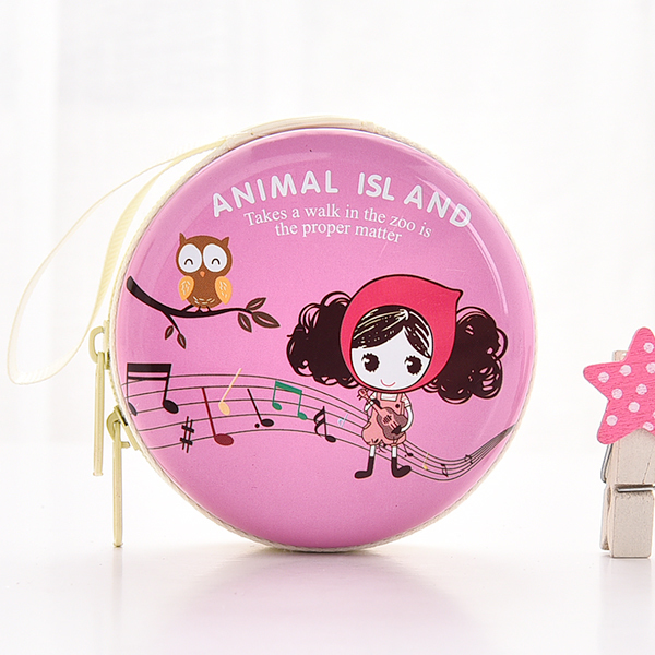 SSU#BAO2 Cute mini purse holder earphone portable small gift round storage box key coin bag portable mini coin purse pu eva box for coins earphone headphone sd tf cards cable cord wire storage key wallet bag coin purses