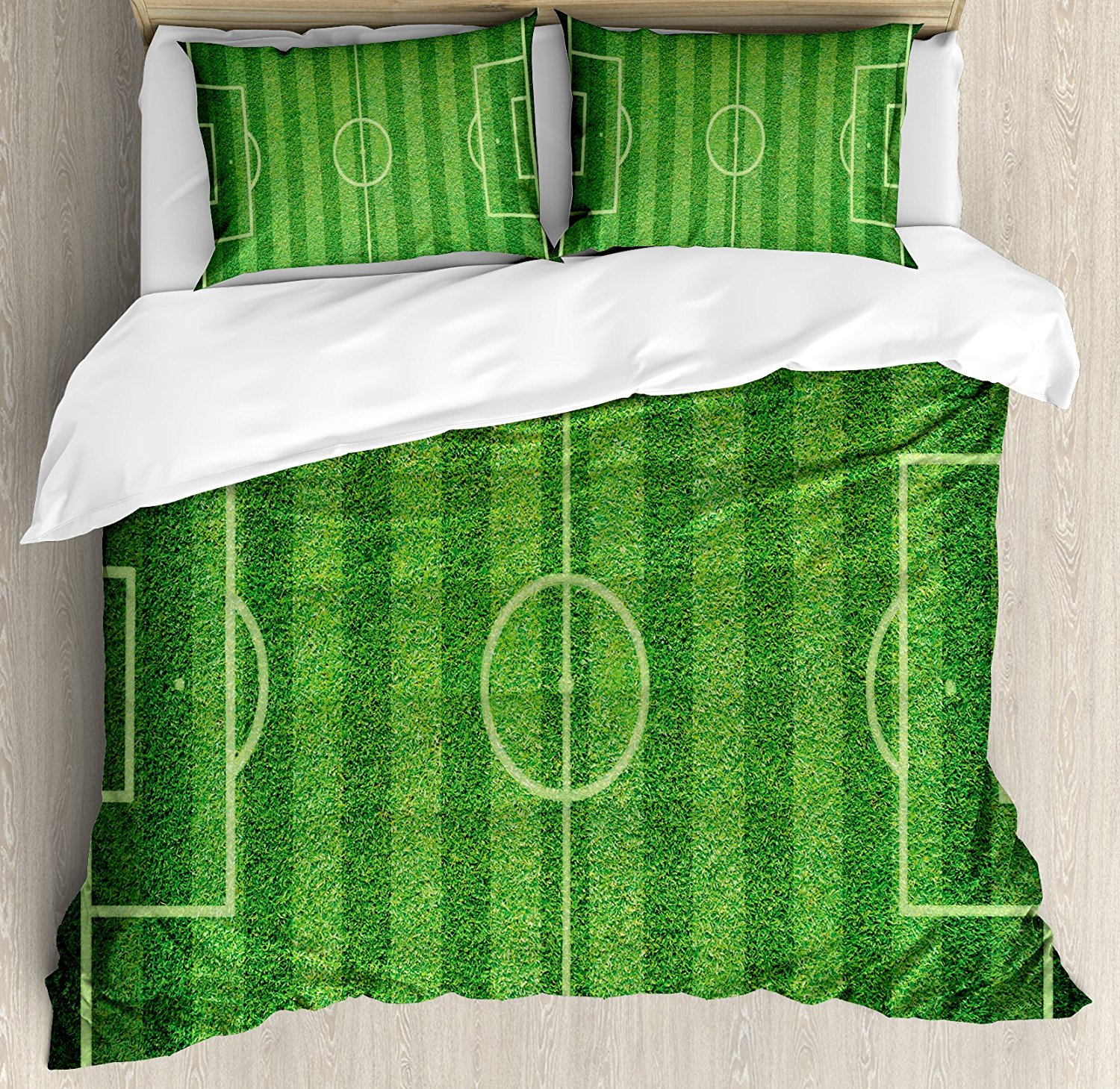 Boys Room Duvet Cover Set Realistic Green Grass Soccer Field Sports Hobby Competition Field 4 Piece Bedding Set Lime Green