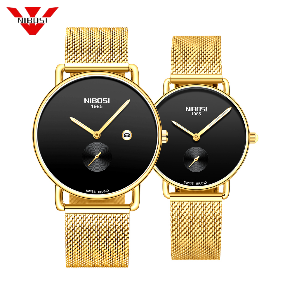 NIBOSI Couple Watch Fashion Stainless Steel Mesh Lovers Simple Casual Watches Men Unisex Gifts Luminous Couple Watches New 2019