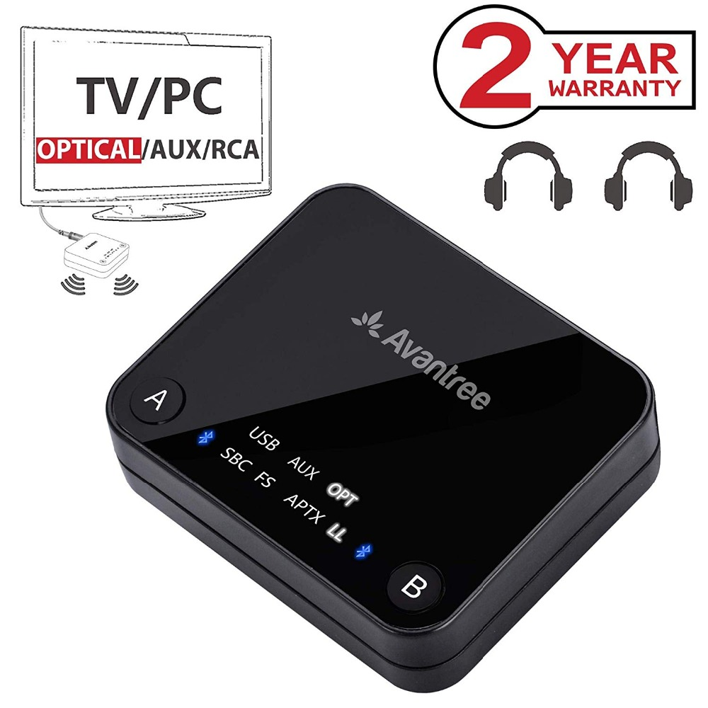 Avantree Dual Link aptX Low Latency supported transmitter with LED, TX Bluetooth Transmitter for TV Bluetooth Audio AdapterAvantree Dual Link aptX Low Latency supported transmitter with LED, TX Bluetooth Transmitter for TV Bluetooth Audio Adapter