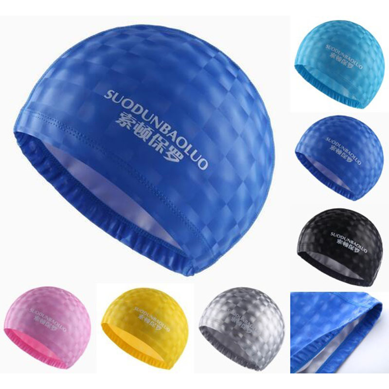 Crystal Water Cube Grids Adults PU Fabric Waterproof Ear Long Protective Hair Swim Pool Swimming Caps Caps Water for Men Women