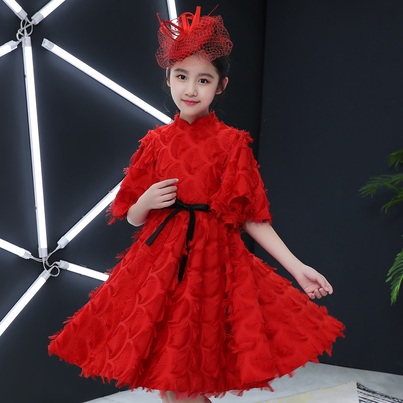 2018 Summer New Children Girls Red Color Elegant Birthday Wedding Party Ball Gown Dress Kids Baby Host Tutu Pageant Prom Dress 2018 new korean sweet autumn summer children baby birthday wedding party prom dress kids girls pink color flowers pageant dress