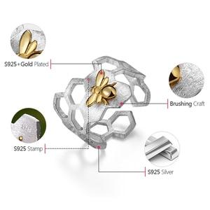 Image 5 - Lotus Fun – Bague à structure en nid dabeille, en argent sterling 925 et or 18 k, de styliste naturel, bijou fin, accessoire tendance pour les dames