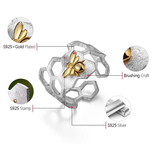 Lotus Fun Real 925 Sterling Silver 18K Gold Bee Rings Natural Designer Fine Jewelry Home Guard Honeycomb Open Ring for Women 4