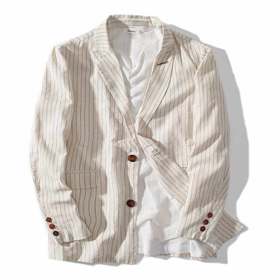 New Men Blazer Slim Fit Casual 2019 봄 가 패션 Retro 면 Striped Solide Male 한 벌 Jacket Plus Size M-3XL ds50346
