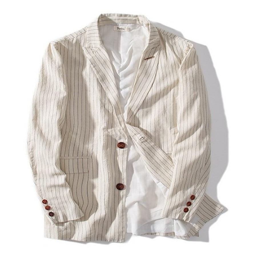 Linen Blazer Men Slim Fit Casual Spring Autumn Retro Cotton Striped Suit Jacket Single Breasted Plus Size 3XL Male Ds50346 Blazers     - title=