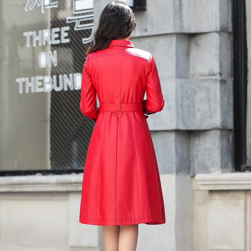 Mode Black vent Longue Taille Haute La army Qualité Cuir Femmes Veste red 2018 Coupe M Green Plus Plissée Zithergo Faux En De Vestes 4xl wqRA0RPF