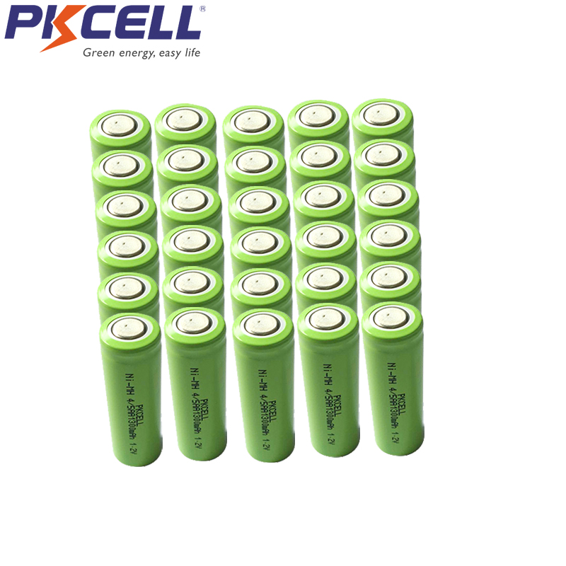 30Pcs PKCELL 4/5AA 1300mah 1.2v NIMH rechargeable battery 4/5 aa 14430 batteries in flat top non PCM in industrial pvc packing image