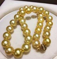 Jewelry Huge 12 14mm genuine natural south sea gold pearl necklace