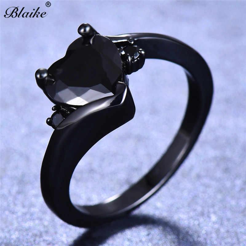 Blaike Boutique corazón blanco/azul agua/rojo/púrpura/Negro anillo de circón para mujeres negro oro relleno compromiso joyería regalo de San Valentín