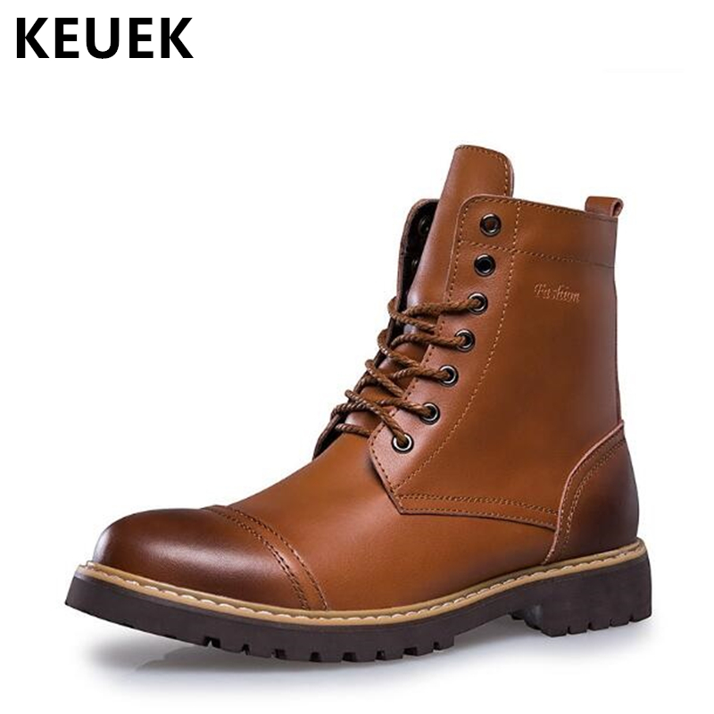 Fashion Genuine leather Martin boots Autumn Men Motorcycle boots Winter Outdoor tooling shoes Lace-Up Ankle Sown boots 02A стоимость