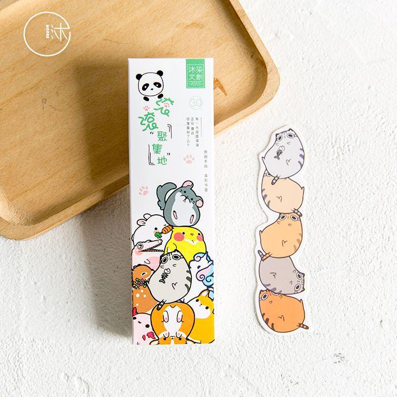 30 Pcs/pack Kawaii Cute Cartoon Fat Animals Paper Bookmark Promotional Gift Stationery Film Bookmark