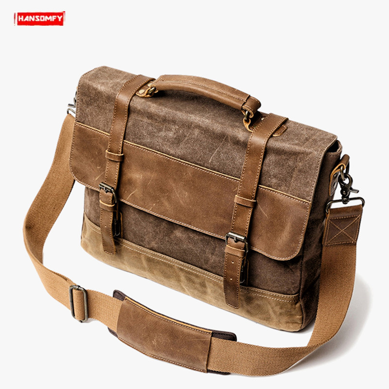 2019 new waterproof oil wax canvas with crazy horse leather mens handbag retro business shoulder bag male slung messenger bag2019 new waterproof oil wax canvas with crazy horse leather mens handbag retro business shoulder bag male slung messenger bag