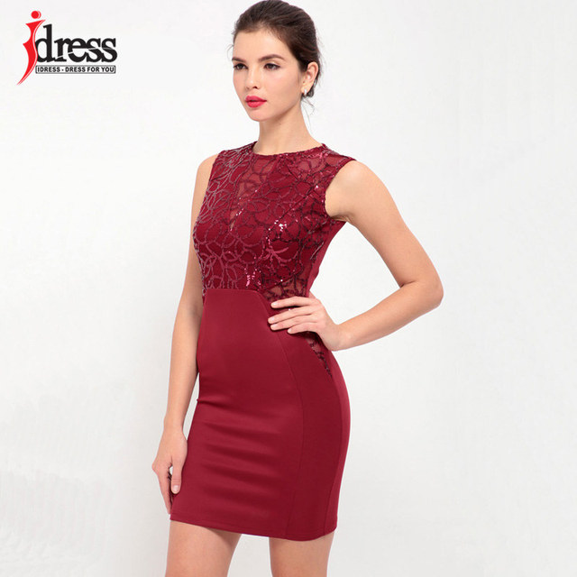 IDress Real Photo Red Apricot Blue 2017 New Hot Women Clothing Sequin Club  Wear 1e10d52e1ad5