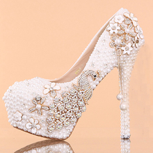 Fashion Crystal high heel wedding shoes Gorgeous Luxury Lady Party Prom Dress Shoes High Heel Bridal Dress Shoes