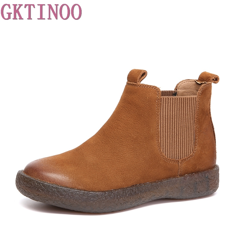 GKTINOO New women Genuine Leather Boots Vintage Style Flat Booties Soft Cowhide Women's Shoes Slip On Ankle Boots Female twisee new lace up ankle boots zapatos mujer women genuine leather boots vintage style flat booties round toe women s shoes