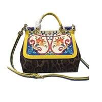 Оригинальное качество Италия Сицилия Роскошные Сумки покер печати сумка известный Дизайн женская сумка Crossbody сумки для Для женщин