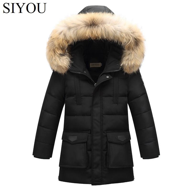 ФОТО Long Teenage Boys Down Coats Russian Winter Thick Warm Children Coats Fur Hooded Boys Jackets Kids Outwear For Winter SYHBx5 WUA