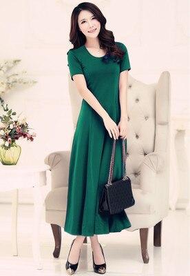 Летнее платье для женщин модное повседневное Макси платье размера плюс черные платья Бохо сарафан вечерние элегантные женские платья - Цвет: green short sleeve
