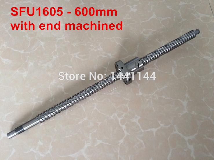 1pc SFU1605 Ball Screw  600mm BK12/BF12 end machined + 1pc 1605 BallScrew Nut for CNC Router vibration type pneumatic sanding machine rectangle grinding machine sand vibration machine polishing machine 70x100mm