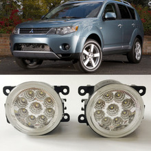 Car Styling For Mitsubishi Outlander XL 2007-2013 9-Pieces Leds Chips LED Fog Light Lamp H11 H8 12V 55W Halogen Fog Lights car styling for honda cr z 2013 2014 2015 9 pieces leds chips led fog light lamp h11 h8 12v 55w halogen fog lights