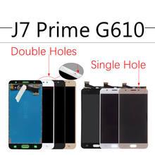 Sinbeda AMOLED Für SAMSUNG GALAXY J7 Prime LCD Display G610 G610F On7 2016 G6100 Touchscreen Digitizer Montage Doppel Löcher