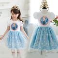 2015 кружева снег с коротким рукавом детские платья Платье мультфильм туту розовый синий девочки платье, пачка принцесса