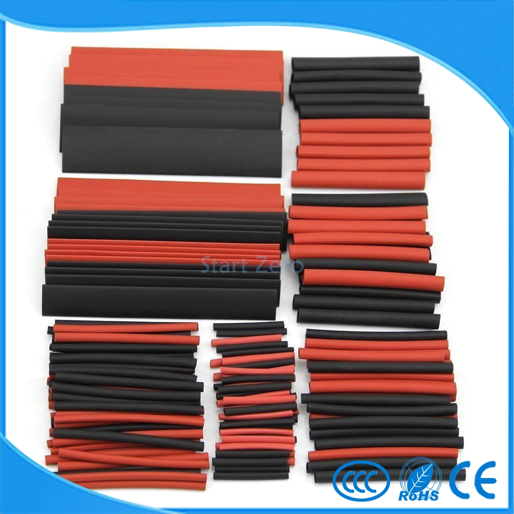 150 PCS 7.28m Black And Red 2:1 Assortment Heat Shrink Tubing Tube Car Cable Sleeving Wrap Wire Kit недорого
