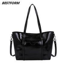 BESTFORM Leather Bags Women 2019 Retro Shoulder Bag Luxury Large Capacity Classic Female Handbag Designers Ladies Messenger