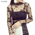 Sexy Mesh T Shirt Women 2017 Fashion Hollow Perspective T-shirt New Long Sleeve Spring Tops Turtleneck Black Top Female 9 Style