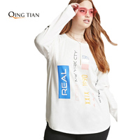 Loose Big Sizes Hoodies Women 2017 Autumn White Funny Letter Print Long Sleeve Casual O Neck
