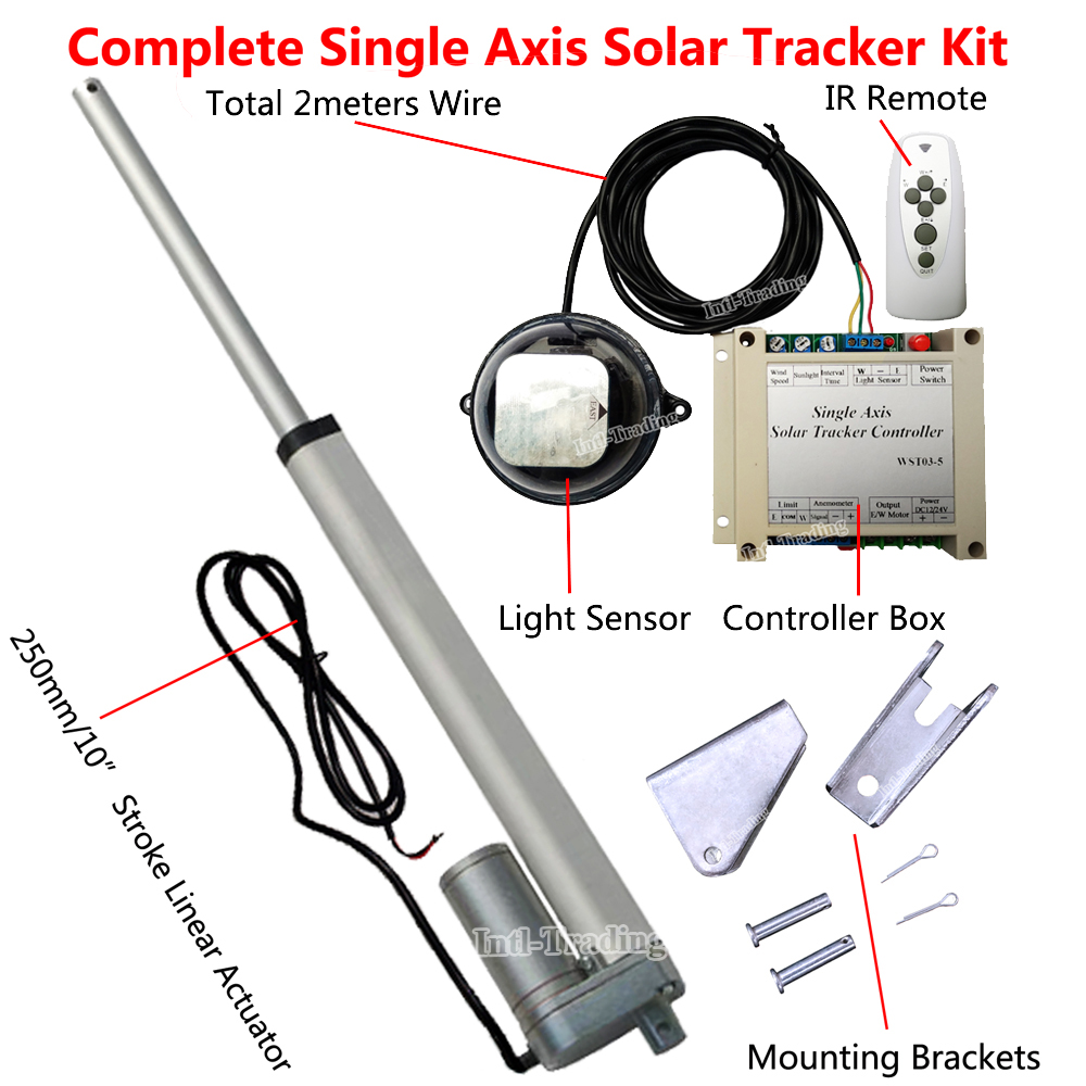 Complete Single Axis Sunlight Track Solar Tracker Sun Power Kit 12 Controller Dhl Shipping 1kw Electronic Tracking System