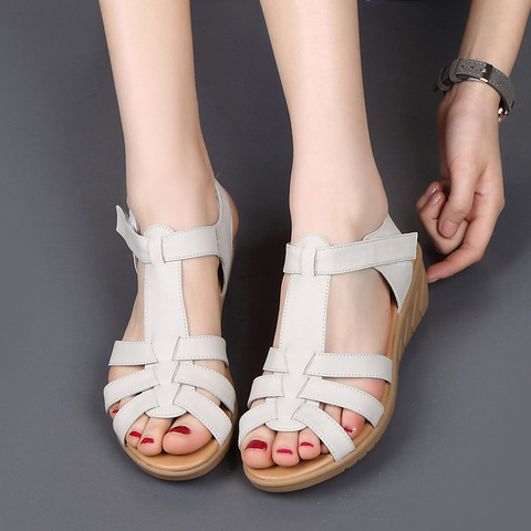 New Genuine Leather Women Sandals Women Summer Shoes Peep Toe Gladiator Sandals Wedges Oxford Shoes Woman Black White WSH3371 Karachi