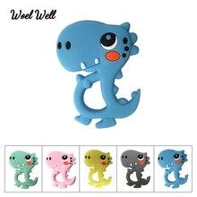 Woel Well 1PCS Food Grade Cartoon Dinosaur Baby Teether Toy BPA Free Animal Cute DIY Teeth Silicone Chew Child Toys